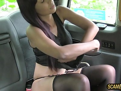 Brunette ebony Sade in stocking goes dogging with her driver